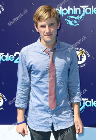 """Nathan Gamble seen at the LA Premiere of """"Dolphin Tale 2"""" on at Regency Village Theater in Los Angeles, California"""
