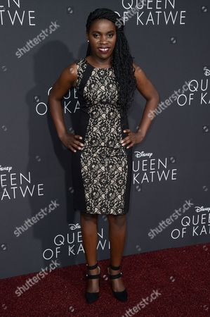 "Phiona Mutesi attends the LA Premiere of ""Queen of Katwe"" held at the El Capitan Theatre, in Los Angeles"