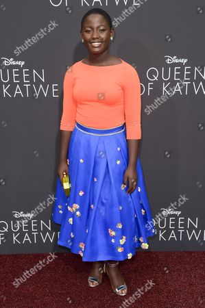 """Stock Photo of Madina Nalwanga attends the LA Premiere of """"Queen of Katwe"""" held at the El Capitan Theatre, in Los Angeles"""