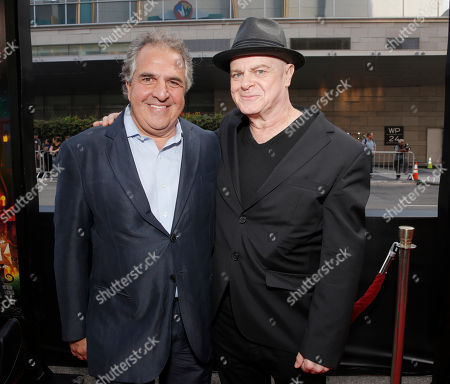 Jim Gianopulos, chairman and CEO of Fox Filmed Entertainment and Composer Gustavo Santaolalla attend the Twentieth Century Fox and Reel FX Animation Studios premiere of 'The Book of Life' on Sun, in Los Angeles