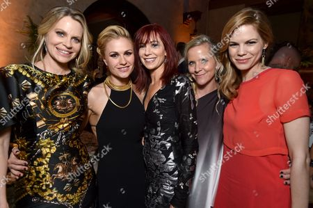 """Kristin Bauer van Straten and from left, Anna Paquin, Carrie Preston, a guest and Mariana Klaveno attend the afterparty for the Los Angeles premiere of the 7th and final season of """"True Blood"""" at the TCL Chinese Theatre on"""