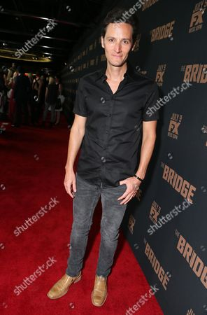 """Christian Barillas arrives at the Los Angeles premiere screening of """"The Bridge"""" at the Pacific Design Center, in West Hollywood, Calif"""