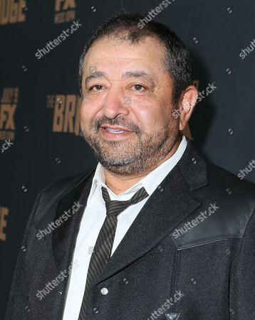 Alejandro Patino arrives at the premiere screening of 'The Bridge' at the Pacific Design Center, in West Hollywood, Calif
