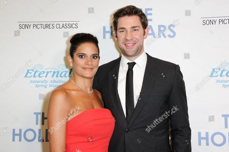 """Ashley Dyke, left, and John Krasinski attend a special screening of """"The Hollars"""" held at the Linwood Dunn Theater, in Los Angeles"""