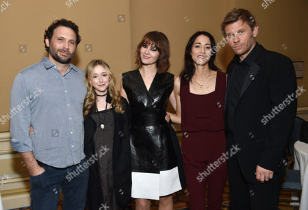 """Jeremy Sisto, from left, India Ennenga, Mary Elizabeth Winstead, Sandrine Holt and Mark Pellegrino, of A&E's """"The Returned"""", pose backstage at the Lifetime, A&E, and History winter TCA panel at the Langham Hotel, in Pasadena, Calif"""