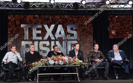 "Director Roland Joffe, from left, Ray Liotta, Jeffrey Dean Morgan, Bill Paxton, Olivier Martinez and Leslie Greif, of History's ""Texas Rising"", speak on stage at the Lifetime, A&E, and History winter TCA panel at the Langham Hotel, in Pasadena, Calif"