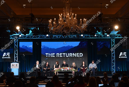 """Executive producer Carlton Cuse, from left, executive producer Raelle Tucker, Mary Elizabeth Winstead, Mark Pellegrino, India Ennenga, Sandrine Holt and Jeremy Sisto, of A&E's """"The Returned"""", speak at the Lifetime, A&E, and History winter TCA panel at the Langham Hotel, in Pasadena, Calif"""