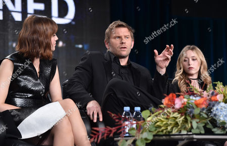 """Mary Elizabeth Winstead, from left, Mark Pellegrino and India Ennenga, of A&E's """"The Returned"""", speak at the Lifetime, A&E, and History winter TCA panel at the Langham Hotel, in Pasadena, Calif"""