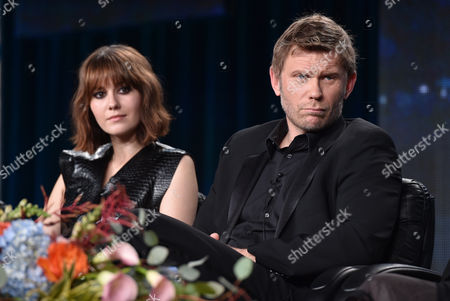 """Mary Elizabeth Winstead, left, and Mark Pellegrino, of A&E's """"The Returned"""", speak at the Lifetime, A&E, and History winter TCA panel at the Langham Hotel, in Pasadena, Calif"""