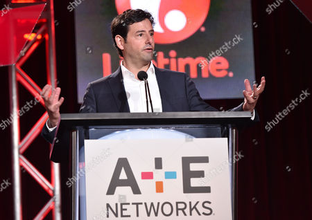 Rob Sharenow, executive vice president and general manager of Lifetime, speaks at the Lifetime, A&E, and History winter TCA panel at the Langham Hotel, in Pasadena, Calif