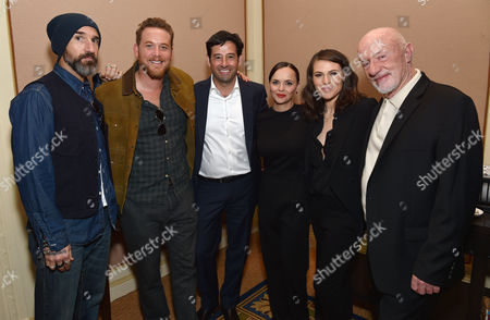 "Rob Sharenow, executive vice president and general manager of Lifetime, third from left, and from left, director Stephen Kay, Cole Hauser, Christina Ricci, Clea DuVall and Jonathan Banks, of Lifetime's ""The Lizzie Borden Chronicles"", pose backstage at the Lifetime, A&E, and History winter TCA panel at the Langham Hotel, in Pasadena, Calif"