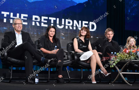 """Executive producer Carlton Cuse, from left, executive producer Raelle Tucker, Mary Elizabeth Winstead, Mark Pellegrino and India Ennenga, of A&E's """"The Returned"""", speak at the Lifetime, A&E, and History winter TCA panel at the Langham Hotel, in Pasadena, Calif"""