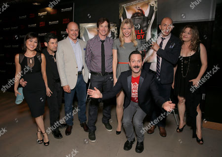 """Robert Ben Garant, Rob Corddry, Rob Huebel, Riki Lindhome, Paul Scheer, Jenny Robertson and Thomas Lennon (front) attend Millennium Entertainment's """"Hell Baby"""" Los Angeles Premiere at the Chinese 6 Theater Hollywood on in Hollywood, California., on Monday, August, 19, 2013 in Los Angeles"""