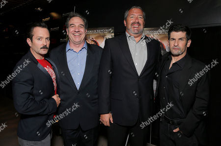 """Writer/Director Thomas Lennon, Millennium Entertainments' EVP of Operations Tony Korkunis, Millennium Entertainment President Stephen Nickerson and Writer/Director Robert Ben Garant attend Millennium Entertainment's """"Hell Baby"""" Los Angeles Premiere at the Chinese 6 Theater Hollywood on in Hollywood, California., on Monday, August, 19, 2013 in Los Angeles"""