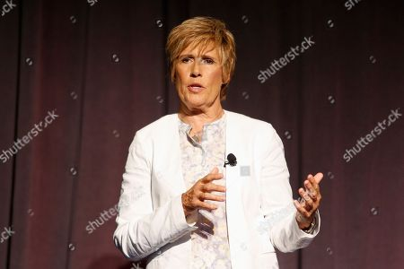 Swimmer Diana Nyad participates in a town hall event at the offices of McNeil Consumer Healthcare in Fort Washington, Pa. on