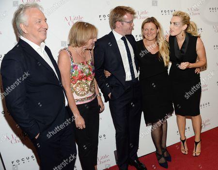 "Alan Rickman, left,Gail Egan, Peter Gregson, Ellen Kuras and Kate Winslet attend the premiere of ""A Little Chaos"" at the Museum of Modern Art, in New York"