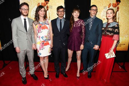 "Akiva Schaffer, from left, Liz Cackowski, Jorma Taccone, Marielle Heller, Andy Samberg and Joanna Newsom attend the premiere of ""Popstar: Never Stop Never Stopping"" at AMC Loews Lincoln Square, in New York"