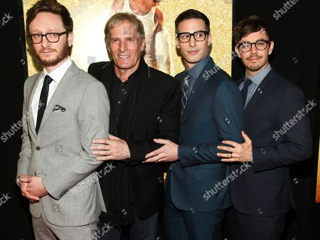 "Akiva Schaffer, from left, Michael Bolton, Andy Samberg and Jorma Taccone attend the premiere of ""Popstar: Never Stop Never Stopping"" at AMC Loews Lincoln Square, in New York"