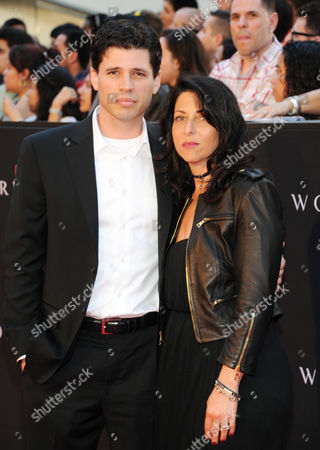 """Author Max Brooks and wife Michelle Kholos Brooks attend the premiere of """"World War Z"""" in Times Square on in New York"""