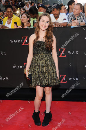 "Actress Ruby Jerins attends the premiere of ""World War Z"" in Times Square on in New York"