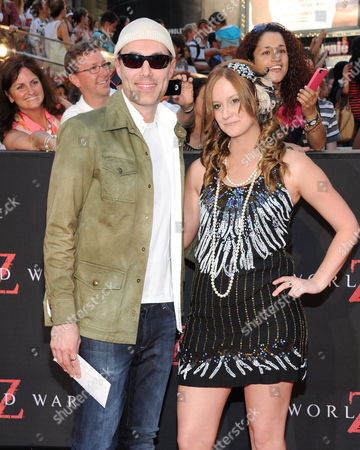"Stock Image of Angelina Jolie's brother James Haven and his girlfriend Ashley Reign attend the premiere of ""World War Z"" in Times Square on in New York"