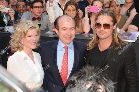 "Deborah Dauman, Phillipe Dauman and Brad Pitt attend the premiere of ""World War Z"" in Times Square on in New York"