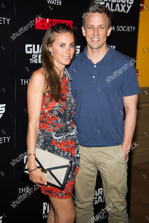 "Alexi Meyers and Seth Meyers attend a screening of ""Guardians of the Galaxy"" hosted by The Cinema Society and Men's Fitness on in New York"