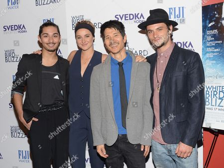 """Actor Mark Indelicato, from left, actress Shailene Woodley, director Gregg Araki and actor Shiloh Fernandez attend a special screening of """"White Bird In A Blizzard"""" at the Landmark Sunshine Theater, in New York"""