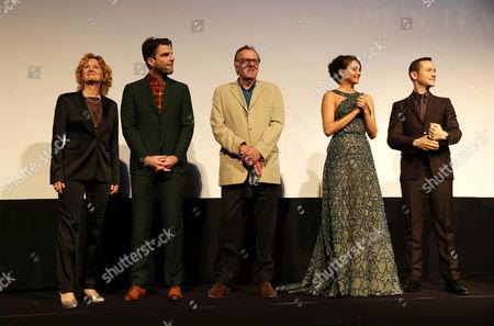 "Melissa Leo, Zachary Quinto, Tom Wilkinson, Shailene Woodley and Joseph Gordon-Levitt seen at Open Road Films' ""Snowden"" premiere at 2016 Toronto International Film Festival, in Toronto"