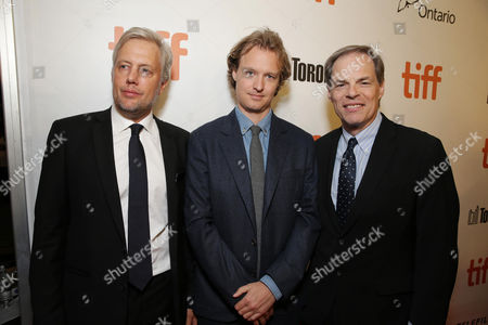 "Stock Picture of Producer Eric Kopeloff, Writer Kieran Fitzgerald and Tom Ortenberg, CEO of Open Road Films, are seen at Open Road Films' ""Snowden"" premiere at 2016 Toronto International Film Festival, in Toronto"