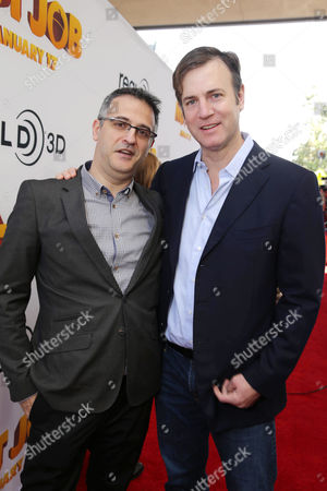 Director/Writer Peter Lepeniotis and Executive Producer Mike Karz seen at Open Road's Premiere of 'The Nut Job', on in Los Angeles