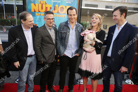 Tom Ortenberg, CEO, Open Road Films, Director/Writer Peter Lepeniotis, Will Arnett, Katherine Heigl and Executive Producer Mike Karz seen at Open Road's Premiere of 'The Nut Job', on in Los Angeles