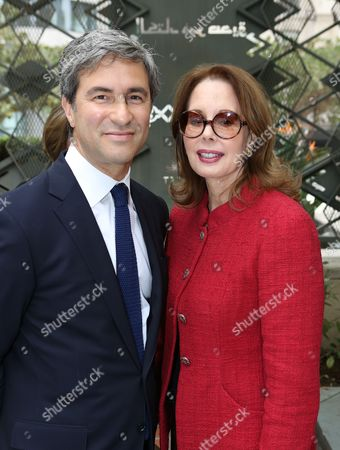 From left, Michael Govan, CEO and Wallis Annenberg Director, Los Angeles County Museum of Art, and Maria Hummer-Tuttle, Getty Trustee pose during the press conference to announce the economic impact of Pacific Standard Time: Art In L.A., 1945-1980 on in Los Angeles, Calif