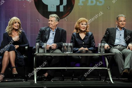 "From left, Mary Crosby, Nathaniel Crosby, Kathryn Crosby, and Harry Crosby speak on stage during the American Masters Bing Crosby: Rediscovered"" panel at the PBS 2014 Summer TCA held at the Beverly Hilton Hotel, in Beverly Hills, Calif"