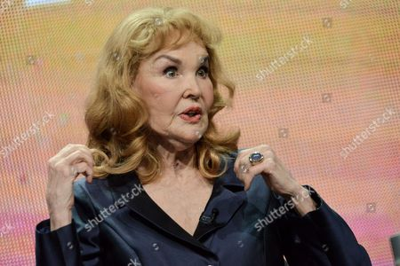 "Kathryn Crosby speaks on stage during the American Masters Bing Crosby: Rediscovered"" panel at the PBS 2014 Summer TCA held at the Beverly Hilton Hotel, in Beverly Hills, Calif"