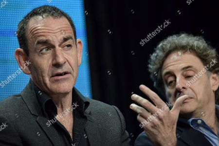 """Watergate historian Timothy Naftali, left, and Director/Writer/Producer John Scheinfeld speaks on stage during the â?oeDick Cavett's Watergate"""" panel at the PBS 2014 Summer TCA held at the Beverly Hilton Hotel, in Beverly Hills, Calif"""