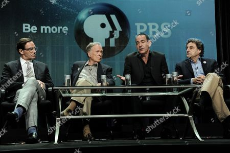 """From left, WNET Vice President Programming Stephen Segaller, Dick Cavett, Watergate historian Timothy Naftali, and Director/Writer/Producer John Scheinfeld speak on stage during the Dick Cavett's Watergate"""" panel at the PBS 2014 Summer TCA held at the Beverly Hilton Hotel, in Beverly Hills, Calif"""