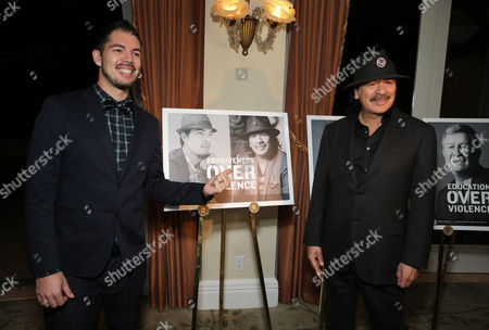 Honorees Salvador Santana and Carlos Santana seen at Peace Over Violence 42nd Annual Humanitarian Awards, on Friday, Oct., 25, 2013 in Beverly Hills, Calif