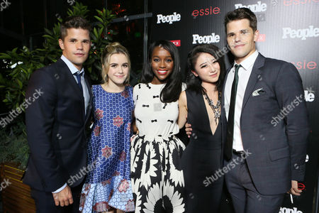 """Charlie Carver, and from left, Kiernan Shipka, Aja Naomi King, Annie Q. and Max Carver attend the PEOPLE """"Ones to Watch"""" Party at The Line Hotel, in Los Angeles"""