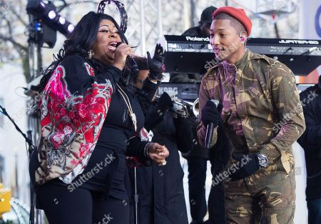 "Stock Picture of Kim Burrell and Pharrell Williams perform on NBC's ""Today"" show at Rockefeller Plaza, in New York"