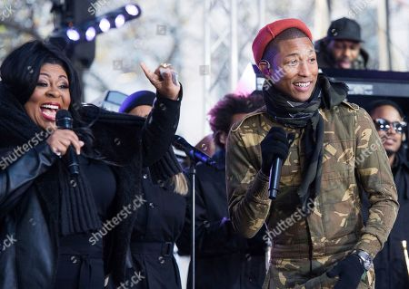 "Kim Burrell and Pharrell Williams perform on NBC's ""Today"" show at Rockefeller Plaza, in New York"
