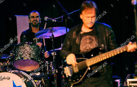 Ringo Starr, left, and Richard Page of his All Starr Band perform during a news conference at SIR studios, in Los Angeles. Starr announced another leg of 2013 tour dates in Latin America and the U.S