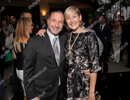 """Executive Producer Alan Poul and HBO Entertainment President Sue Naegle arrive on the red carpet at the season 2 premiere of """"The Newsroom"""" at the Paramount Theater on in Los Angeles"""