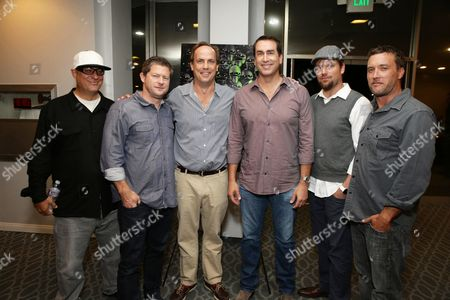 "Co-Director Tom Gianas, Producer Corey Campodonico, John Farley, Rob Riggle, Co-Director Ross Shuman and Producer Alex Bulkley seen at Shadow Machine's ""Hell and Back"" Special Screening, in Los Angeles, CA"