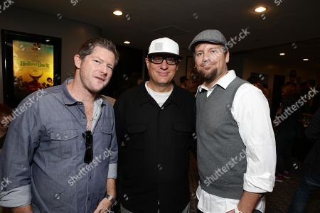 "Stock Image of Producer Corey Campodonico, Co-Director Tom Gianas and Co-Director Ross Shuman seen at Shadow Machine's ""Hell and Back"" Special Screening, in Los Angeles, CA"