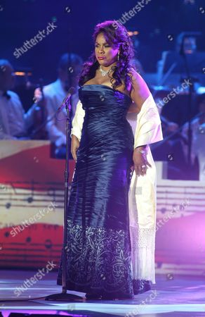 Stock Image of Denyce Graves-Montgomery performs in concert during the Star-Spangled Spectacular: Bicentennial of Our National Anthem Concert at Pier Six Pavilion, in Baltimore