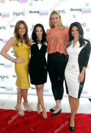 """Kerri Walsh Jennings, second right, three-time Olympic gold medalist and mom of three, joins StrongMoms Empowerment Summit co-hosts Melissa Musen Gerstein, second left, and Denise Albert, left, aka The MOMS, and Darlene Rodriguez, right, co-host of Today in New York, to talk about the need to end """"mom-judging,"""", in New York. Visit StrongMomsEmpower.com to take the pledge and support moms"""