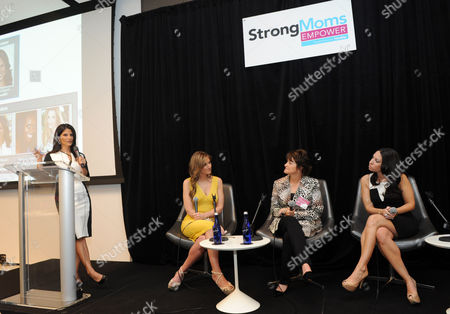 """Darlene Rodriguez, left, co-host of Today in New York, moderates the StrongMoms Empowerment Summit panel discussion on mom judgement, hosted by Similac, in New York. The panel included summit co-hosts Melissa Musen Gerstein, right, and Denise Albert, second left, aka The MOMS, and Dina Conte Schulz, center, president of """"The Kid's Doctor."""" Visit StrongMomsEmpower.com to take the pledge and support moms"""