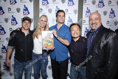 DC Entertainments' Chief Creative officer Geoff Johns, DC Entertainments' President Diane Nelson, Henry Cavill, DC Entertainments' Co-Publisher Jim Lee and DC Entertainments' Co-Publisher Dan DiDio attend the 'Superman' 75th Anniversary Party on Day 3 of 2013 Comic-Con International Convention on in San Diego, Calif