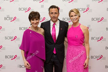 Breast Cancer Research Foundation President Myra Biblowit, Andrew Shue and Amy Robach attend the Breast Cancer Research Foundation's 10th Anniversary Boston Hot Pink Party 2015 at the Seaport World Trade Center on in Boston, Massachusetts